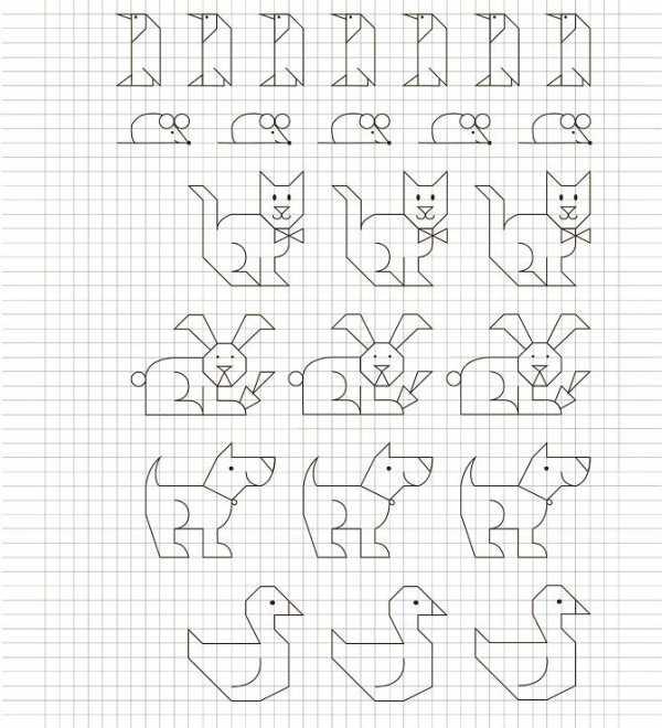Рисунки по клеткам для девочек 10 лет