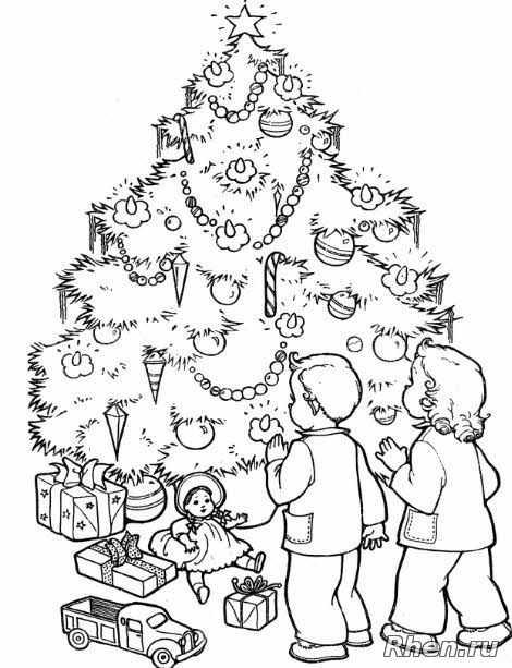 рисунок елки для раскрашивания новогодняя елка и